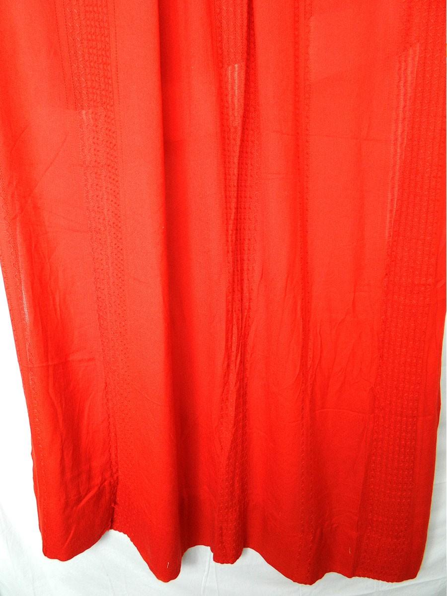 Très long rideaux rouge vif – vintage – – Les Boules à Mites